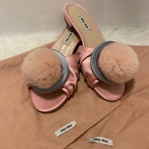 Miu Miu Satin Furry Ball Flats